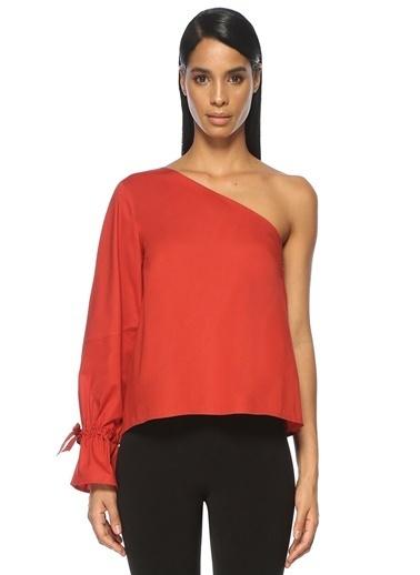 Tanya Taylor Tek Omuzlu Manşeti Büzgülü Bluz Kırmızı